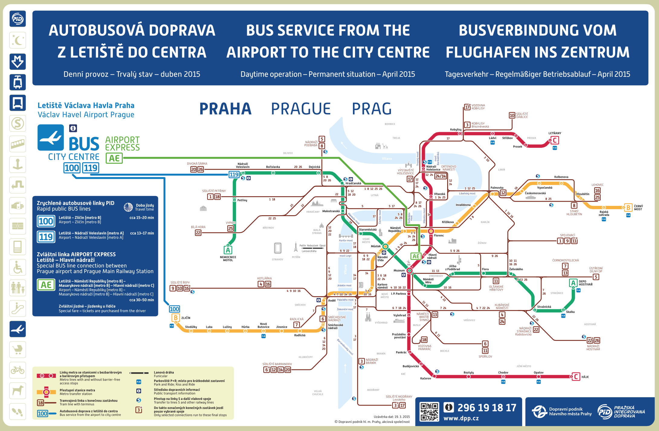 Map of bus service to the airport